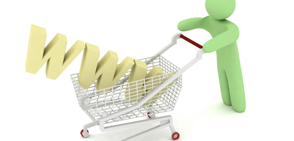 ecommerce man with shopping cart