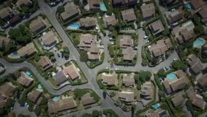 an aerial view of homes in a neighborhood