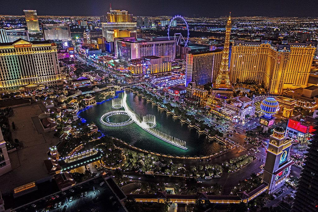 An aerial view of Las Vegas lit up at night